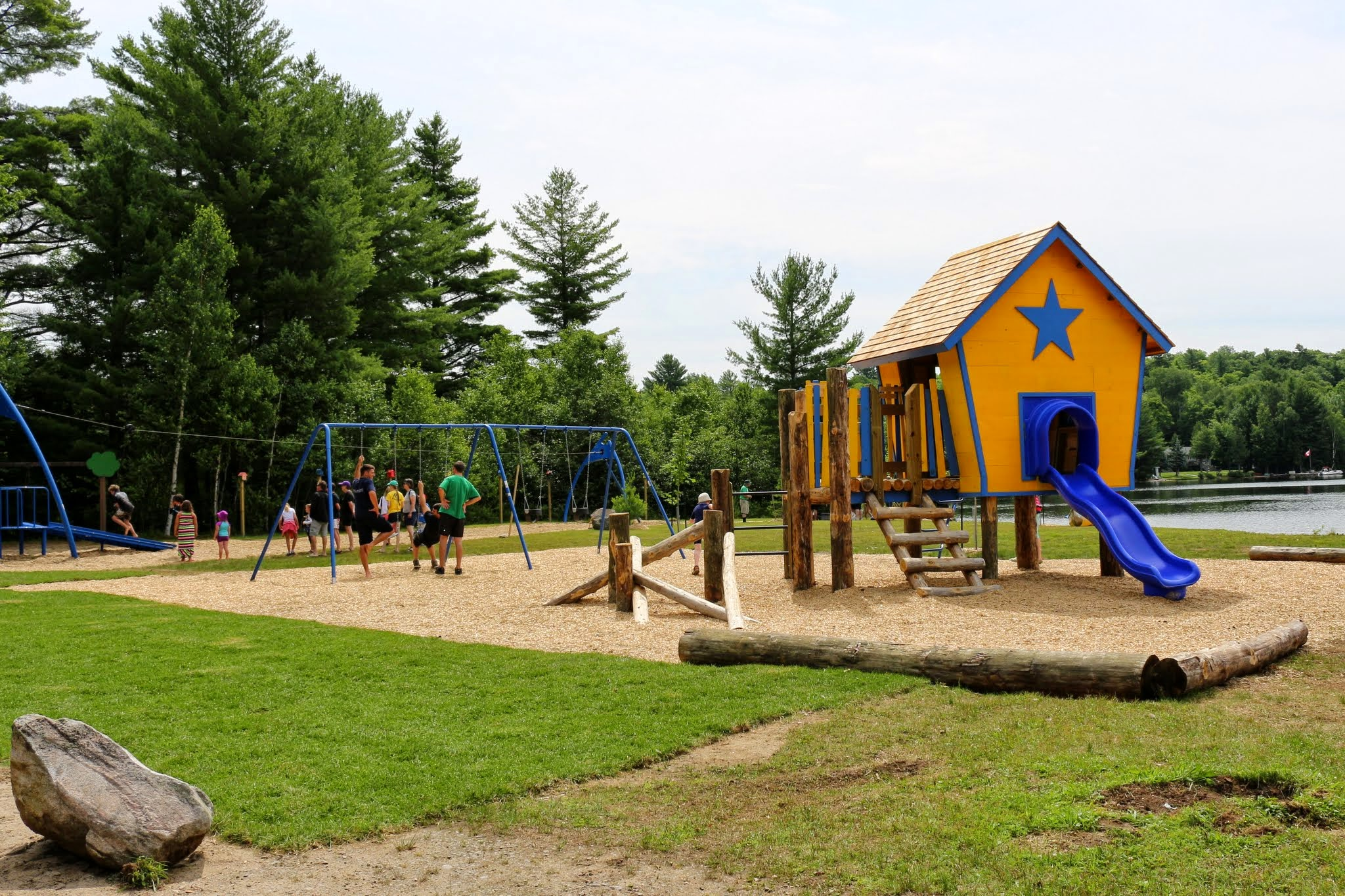 """Summer of 2014 - TVO """"Giver"""" program. Algonquin Highland and volunteers team up to build a fabulous playground!"""