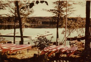 view of lakeshore with canoes and docks
