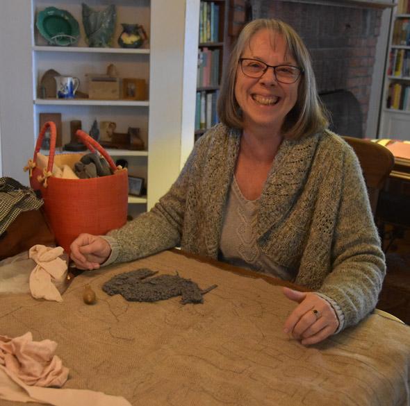 Nice lady making a rug