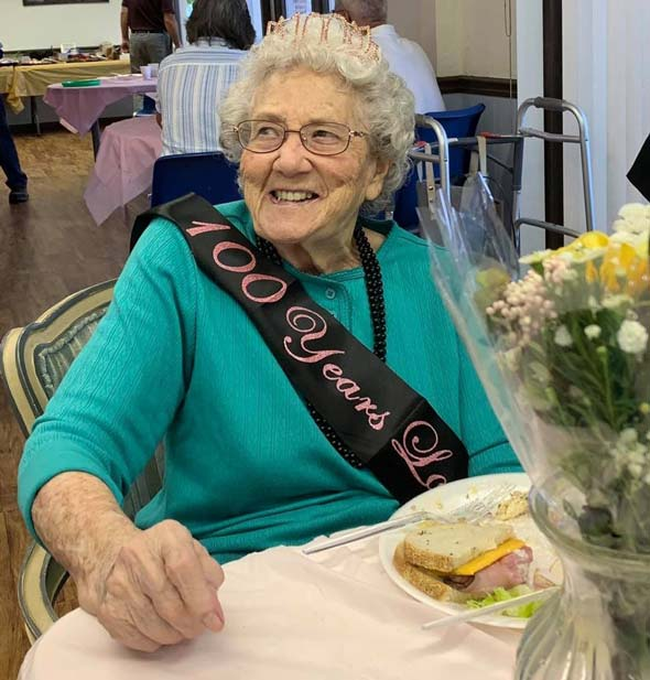 Fabulous woman at her 100th birthday party